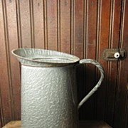 Beautiful Old Gray Graniteware Large Measure Pitcher