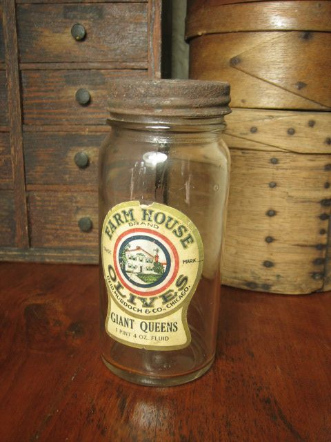 Granny's Old 'Farm House Olives' Glass Jar - Advertising - Reid, Murdoch & Co.