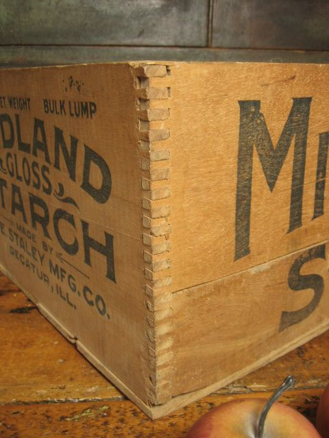 Large Old Wooden Advertising Crate Box Midland Starch