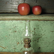 SALE Grandmas Lovely Old Small Swirl Glass Oil Lamp