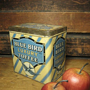 Superb Old Blue Bird Luxury Toffee Candy Tin ~ Made In England  Great Graphics