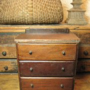 REDUCED Sweet and Simple Small Old Child Sized Hand Made Wooden Primitive Chest w. Drawers