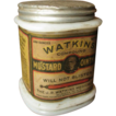 Wonderful Old Watkins Mustard Ointment Milk Glass Jar  Paper Label Advertising
