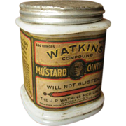 SALE Wonderful Old Watkins Mustard Ointment Milk Glass Jar � Paper Label Advertising