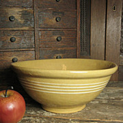 Grandma�s Favorite Old Thick Yellowware Mixing Bowl w/ Four White Stripes