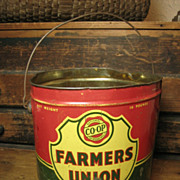 Old �Farmers Union� Grease Advertising Tin Pail w/ Bail Handle