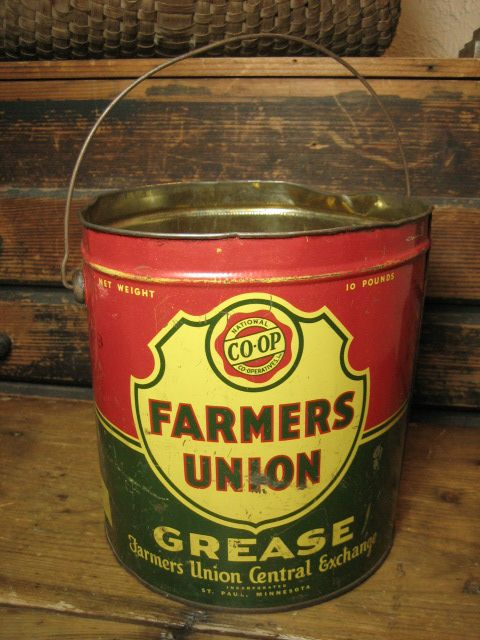 Old `Farmers Union' Grease Advertising Tin Pail w/ Bail Handle