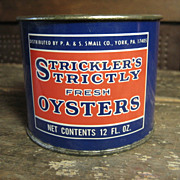 Small Stricklers Oyster Advertising Tin Can