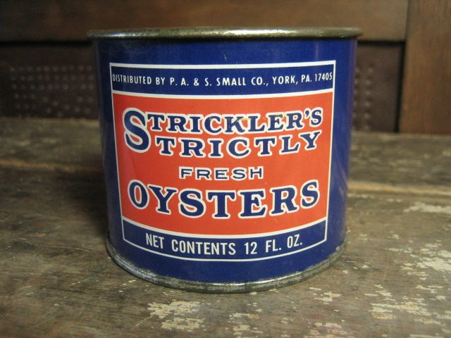 Small Strickler's Oyster Advertising Tin Can