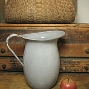 Granny�s Large Old Farmhouse Kitchen Gray Graniteware Water Pitcher
