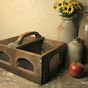 Wonderful Old Unique Farm Primitive Screened Wooden Hand Made Divided Tote Carrier  One Of A 