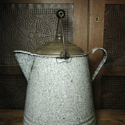 Grandmas Favorite Old Large Farmhouse Kitchen Speckled Graniteware Coffee Boiler