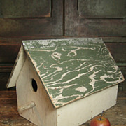 SALE Grandpa's Large Old Hand Made Double Hole Wooden Birdhouse - Old Cream and Green Paint