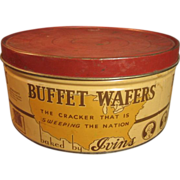 Large Old Round Vintage �Buffet Wafers� Cracker Advertising Tin � J.S. Ivins� Son, Inc. � Phil