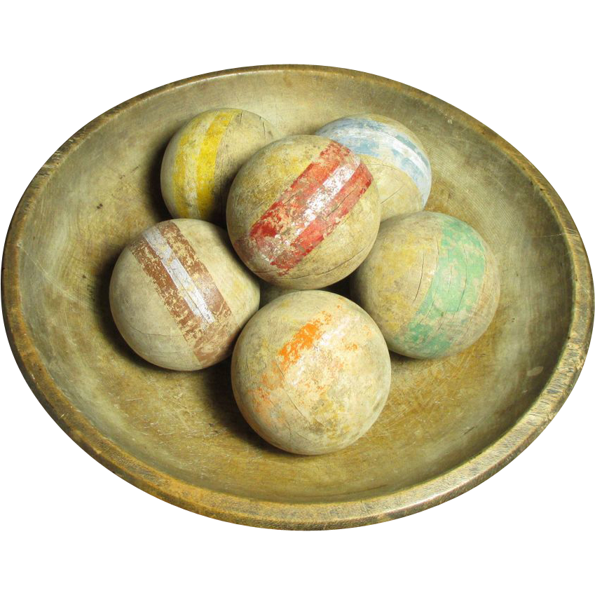 Grandpa's Early Old Set of Six Croquet Balls w. Worn Old Paint from ...