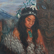 SALE Beautiful Hawaiian Artist/Author Kristin Zambucka Original Goddess Oil Painting-Excellent