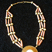 SALE Unusual Vintage Brass Carved Bone Necklace Tribal Unique