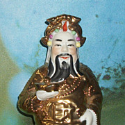 SALE Wonderful Hand Painted Oriental Immortal Porcelain 24 K Gold Figurine