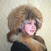 SALE Gorgeous Vintage Fluffy Fox Fur Boyarka Hat & Scarf Wrap=Excellent