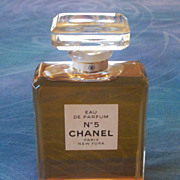 SALE Beautiful Large Original Chanel No 5 Parfum-3.4 Oz Full Crystal Bottle