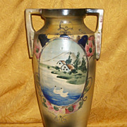 SALE Antique 1800's HP Moriage Swan Lake Earthenware Pottery Vase
