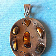 SALE Unusual Early Mexico Sterling Tiger's Eye Pendant=Large 2 3/4""