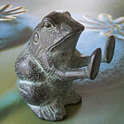 SALE PENDING Charming Bronze Verdigris Large Frog Bookend Doorstop Figurine**Take Xtra 20% Off