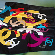 SALE Fabulous Vintage Chanel Multi-Color On Black Silk Scarf