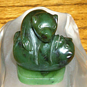 SALE Charming Vintage Carved Alaskan Jade Playing Bear Figurine