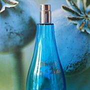 SALE Rare Large Davidoff Blue Crystal Glass Cool Water Woman Perfume Bottle