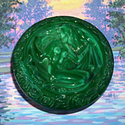 SALE Vintage Czech Bohemian Malachite Nude Lady Vanity Powder Box