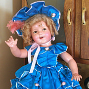 "1930's Ideal Shirley Temple Flirty Eye Composition Doll 27"" Cop Ntc"