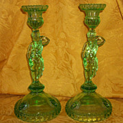 SALE Beautiful 1800's Green Glass Tarzan Mowgli Candle Holders
