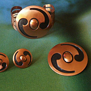 SALE Vintage Hopi Copper Enamel Cuff Bracelet / Brooch / Earrings