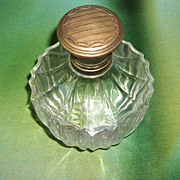 SALE Antique Victorian Sterling Blown Crystal Glass Perfume Bottle
