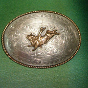 SALE Vintage Large Mexico Rodeo Bull Rider Belt Buckle