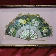 1909 Art Nouveau Rose Fan Calendar - Framed