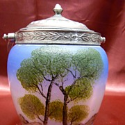Hand Painted Glass Biscuit Cracker Jar
