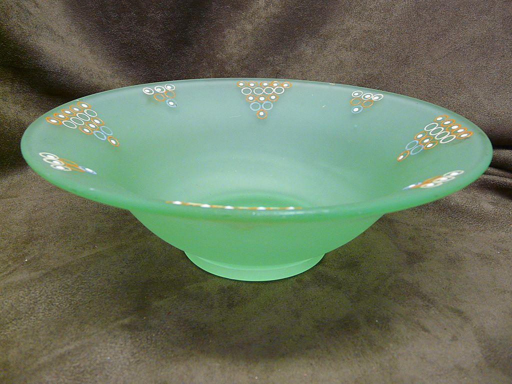 Green Satin Frosted Art Glass Tiffin Console Bowl