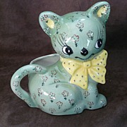 Vintage Relpo Green Floral Cat Planter