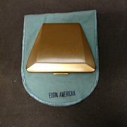 SALE Elgin American Gold Tone Compact - Unusual Shape