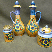 SALE Japan Porcelain Condiment Set Oil, Vinegar, Mustard, Shaker