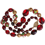 Vintage Chinese Cherry Amber & Cloisonne Beads Necklace Gilded Silver Clasp