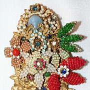 SALE Magnificent Large Signed Stanley Hagler Beaded Bouquet Pin with Gold Tone Vase