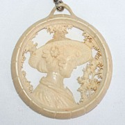 Art Deco Carved Ivory Pendant Necklace