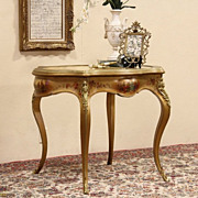 Vernis Martin French 1890 Antique Oval Onyx Top Salon Table