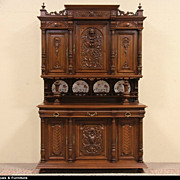 Carved Lion Head 1890 Antique French Court or Dowry Cupboard