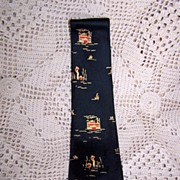 Vintage Silk Showboat Necktie by Lilly Dache