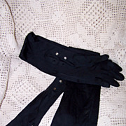 Vintage Black Opera Length Gloves Circa/1960's