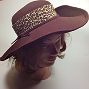 Chocolate Brown Wool Felt Hat w/ Leopard Ribbon